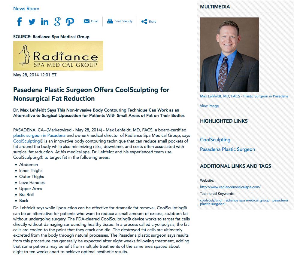 pasadena plastic surgeon, coolsculpting, radiance spa medical group