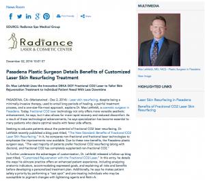 laser skin resurfacing, cosmetic surgeon in Pasadena, fractional CO2 laser, customized skin rejuvenation, Dr. Lehfeldt